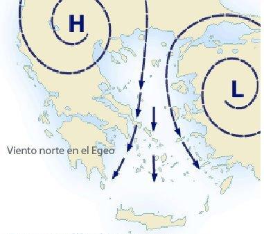 metelmi.jpg.Prevision del tiempo para navegar en Grecia.