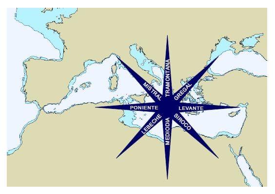 vientos.jpg.Navegar en velero. Nombre de los principales vientos mediterráneos