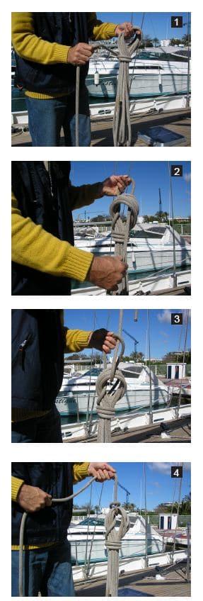 Adujar.jpg.Como guardar los cabos en un velero. Adujar